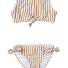 Striped knotted bikini almond Rylee and Cru