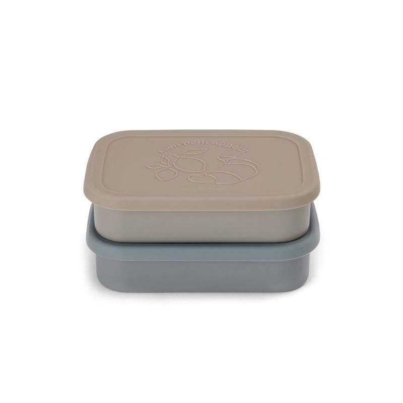 2 pack food boxes lid square blue Konges Slojd