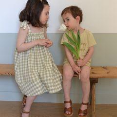 Gingham shoulder tie dress Rylee and Cru