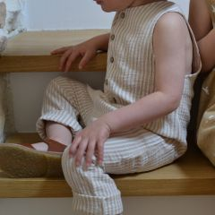 Striped button jumpsuit almond Rylee and Cru