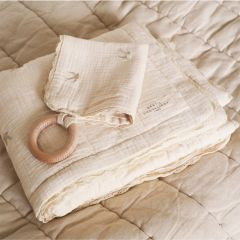 Quilted embroidered blanket swallows Gentil Coquelicot