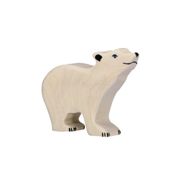 Figurine en bois ourson polaire