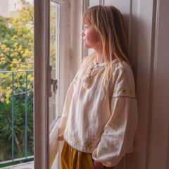 Folk blouse ecru Liilu