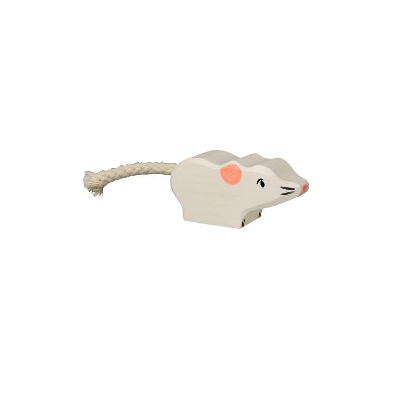 Figurine souris, animal en bois