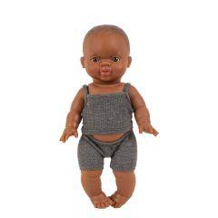 Vêtements de poupée dessous garçon en maille côtelée anthracite Minikane