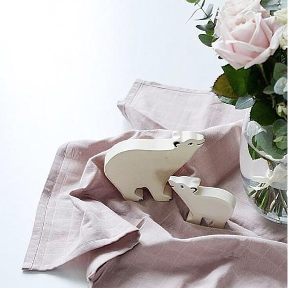 Figurine en bois ourson polaire Holztiger