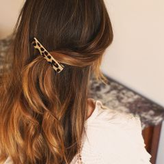 Duo sand and leopard hair clips