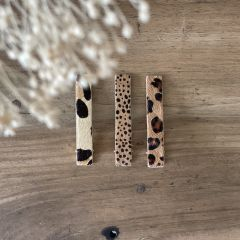Duo sand and leopard hair clips Gentil Coquelicot