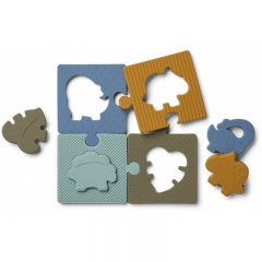 Puzzle bodil en silicone dinosaures dino blue multi mix Liewood