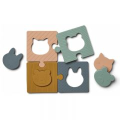 Puzzle bodil en silicone animaux multi mix Liewood
