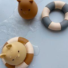 2 pack silicone bath toys swim ring blue almond Konges Slojd