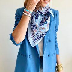 Foulard indien bleu femme So Family