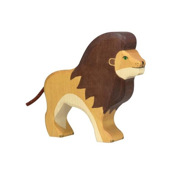 Figurine en bois lion Holztiger