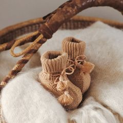 Hazelnut booties and pouch Gentil Coquelicot