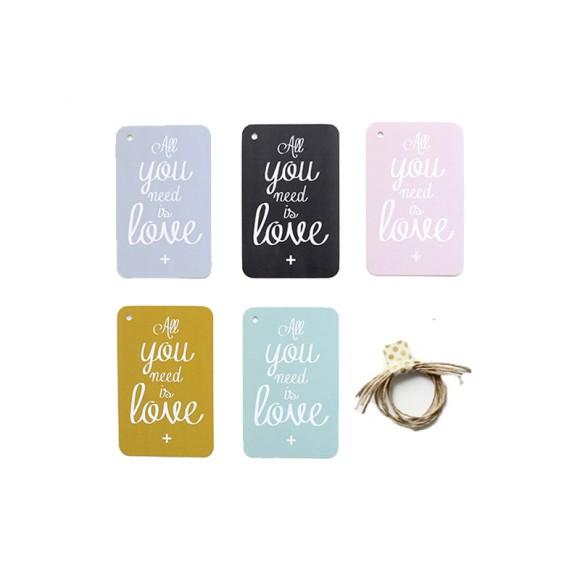 CINQ MAI  Etiquettes cadeaux All you need is love