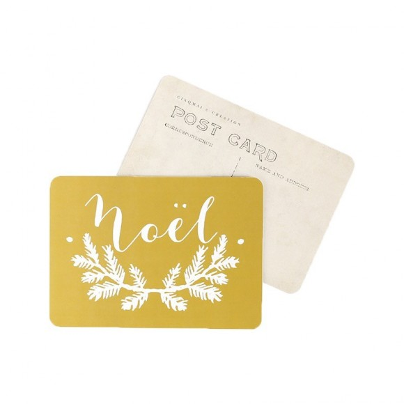 Cinq Mai Carte postale Noël vieil or