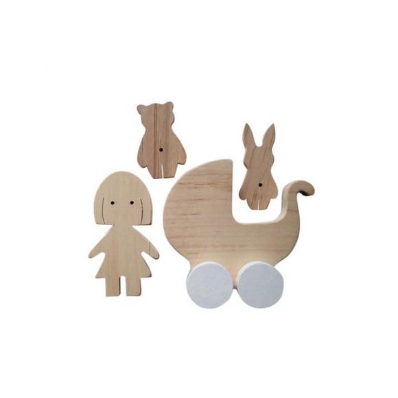 Set figurine en bois petite fille