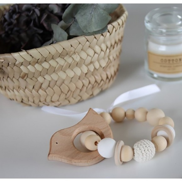 Teething rattle natural La petite particule