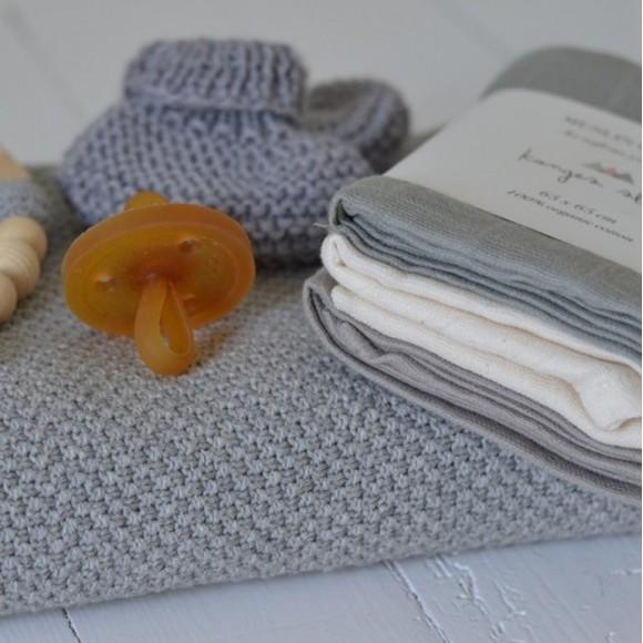 Organic Muslin Cloths 3-Pack Limestone Konges Slojd