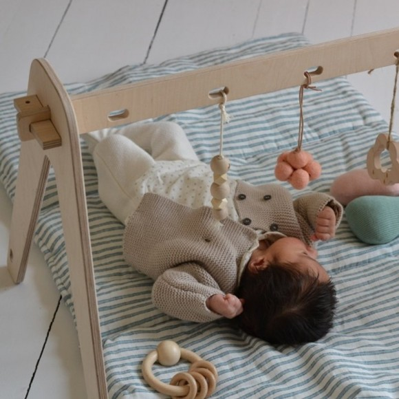 Wooden 1st Play Baby Gym loullou yellow flamingo