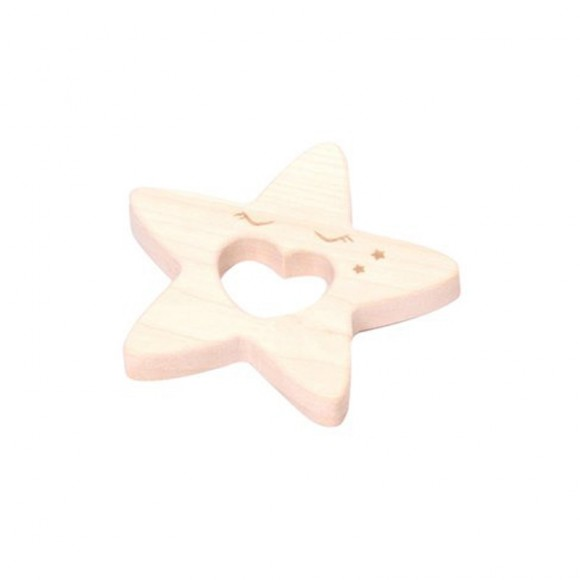 Wooden Tethers Star  loullou yellow flamingo
