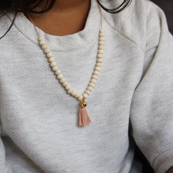 Wooden necklace Mishone and with pendant Pink Powdered Mishone Yellow Flamingo