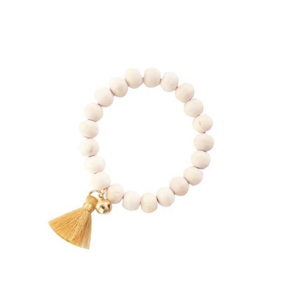 Bracelet Mishone en bois et à pampille Moutarde Mishone Yellow Flamingo