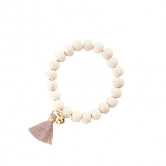 Wooden Bracelet Mishone and Pampille Pink Powdered Mishone Yellow Flamingo