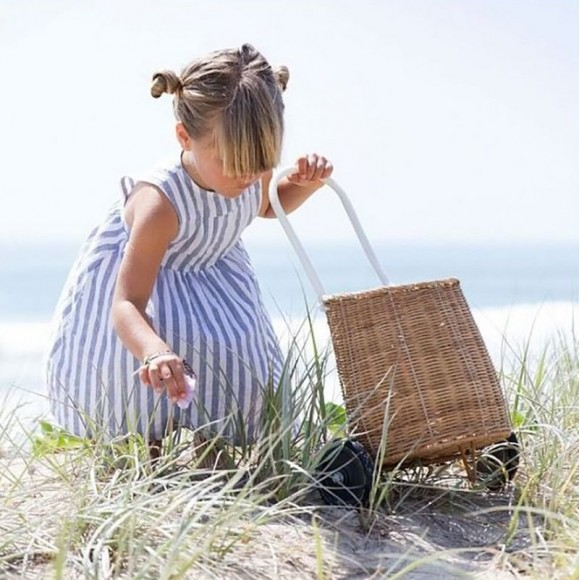 Wheeled wicker basket  for children Olli Ella Yellow Flamingo