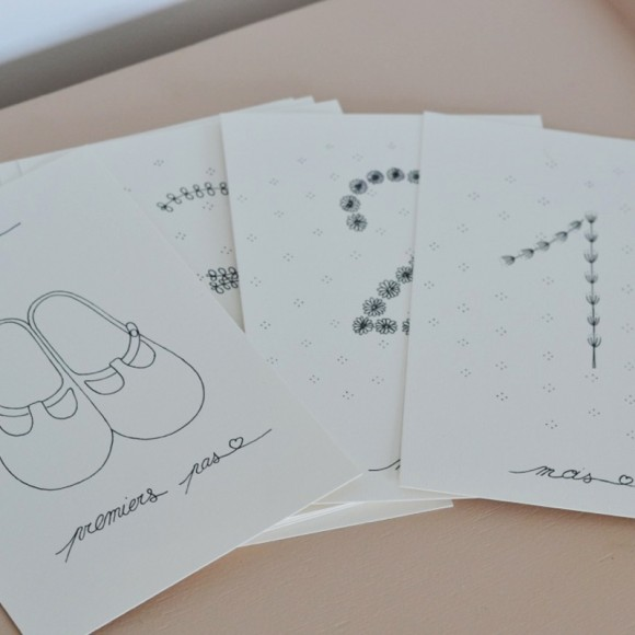 Cartes étapes mois par mois Les Yeux Fripons Yellow Flamingo