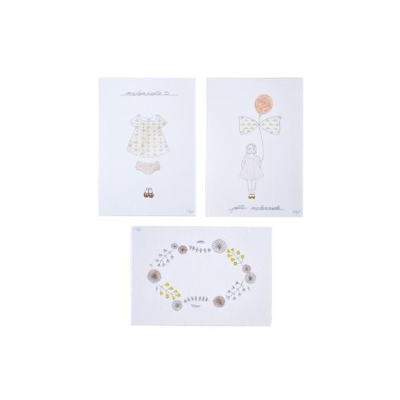 Set de 3 cartes Mademoiselle