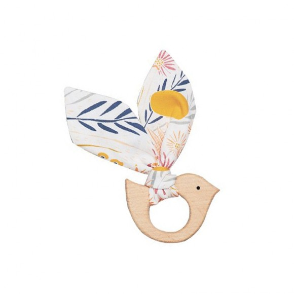 Wooden Teething Ring Bird Bim Bla Yellow Flamingo