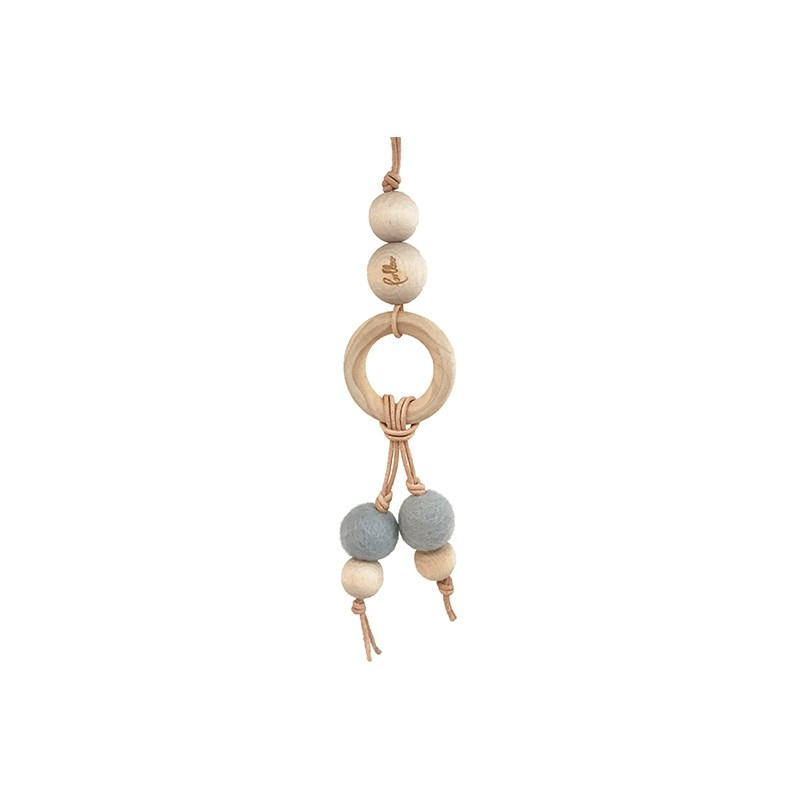 Suspension double perles en laine et bois Bleue Loullou Yellow Flamingo