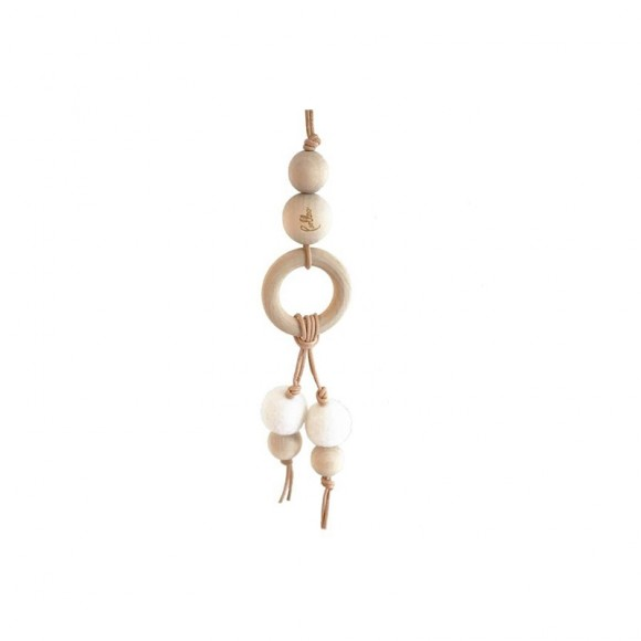Suspension double perles en laine et bois Blanc Loullou Yellow Flamingo