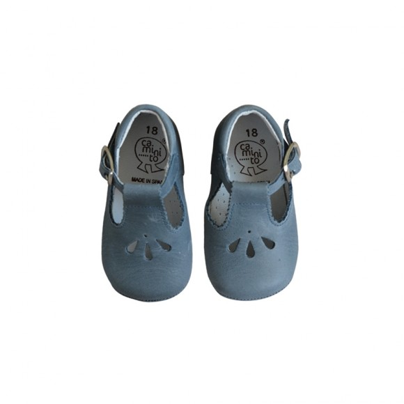Soft Mary Janes Blue Grey