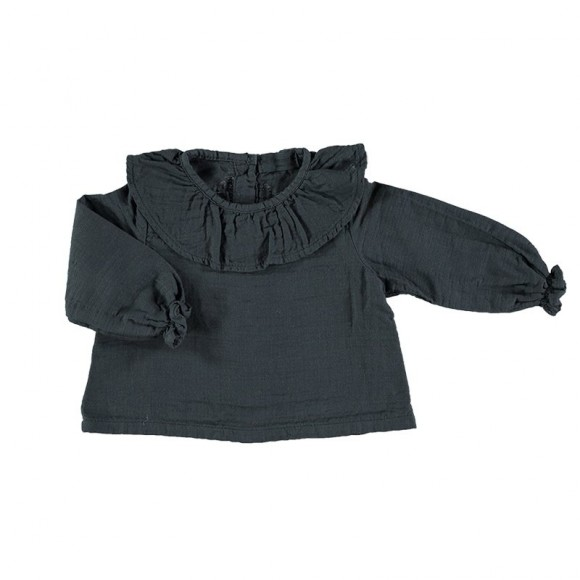 Blouse col volant anthracite
