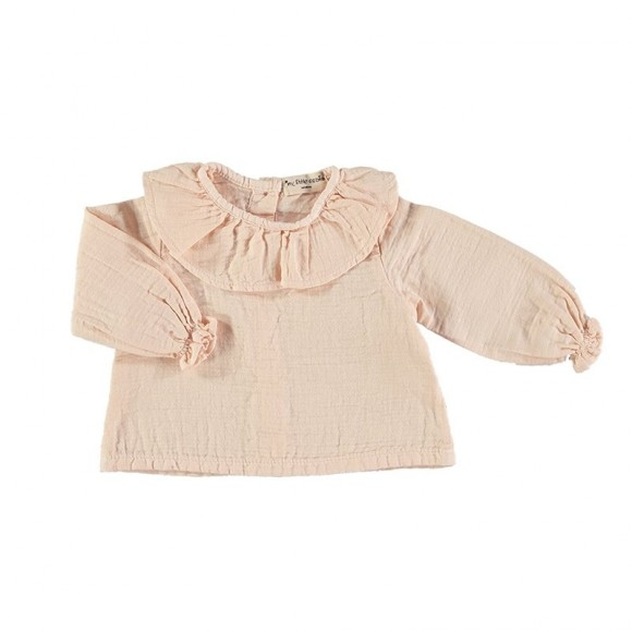 Blouse col volant Rose tendre