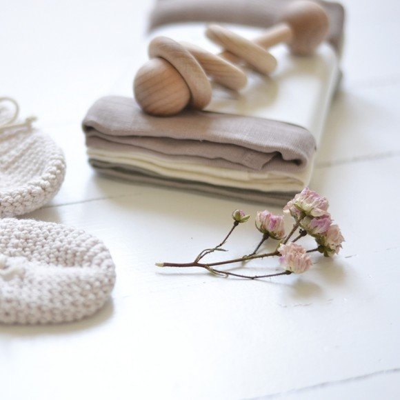 Organic muslin cloths 3-pack rose dust Konges Slojd