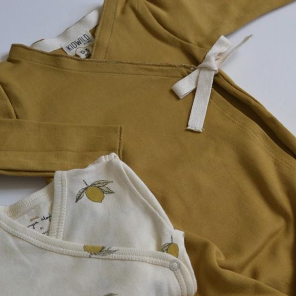 Kimono en coton GOTS Moutarde Kidwild Yellow Flamingo