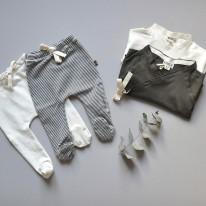 Cotton Gots Footed pants Vanilla Kidwild Yellow Flamingo