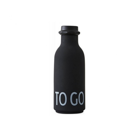 To Go drinking bottle black Design Letters