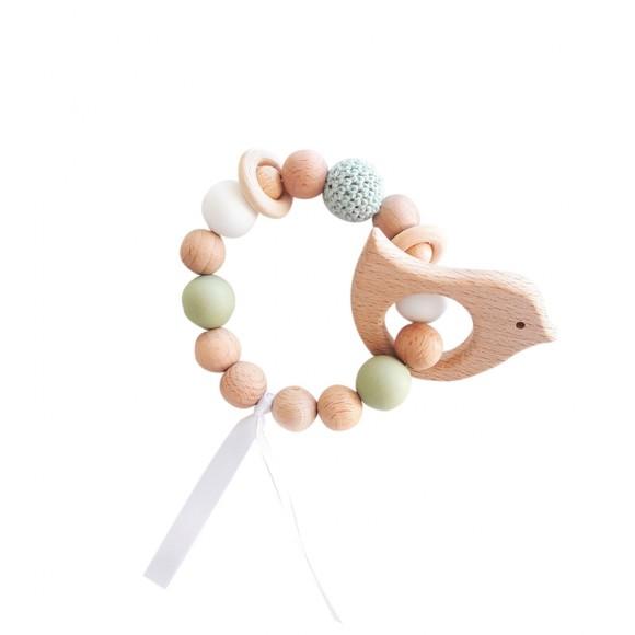 Bracelet d'éveil en bois oiseau vert