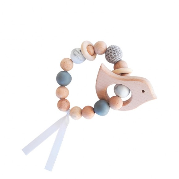 Teething rattle grey La Petite Particule