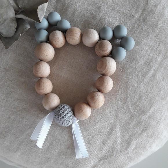 Bracelet d'éveil souris grise en bois