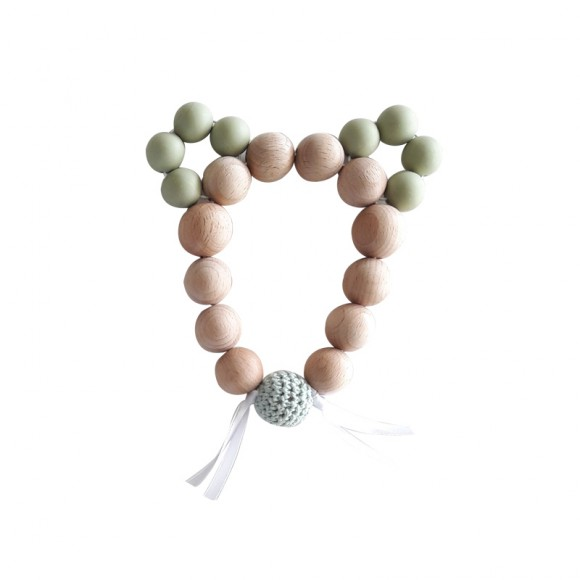 Teething rattle mouse green