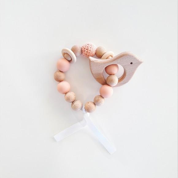 Teething rattle pink La Petite Particule