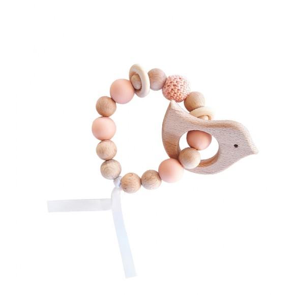 Bracelet d'éveil en bois oiseau rose