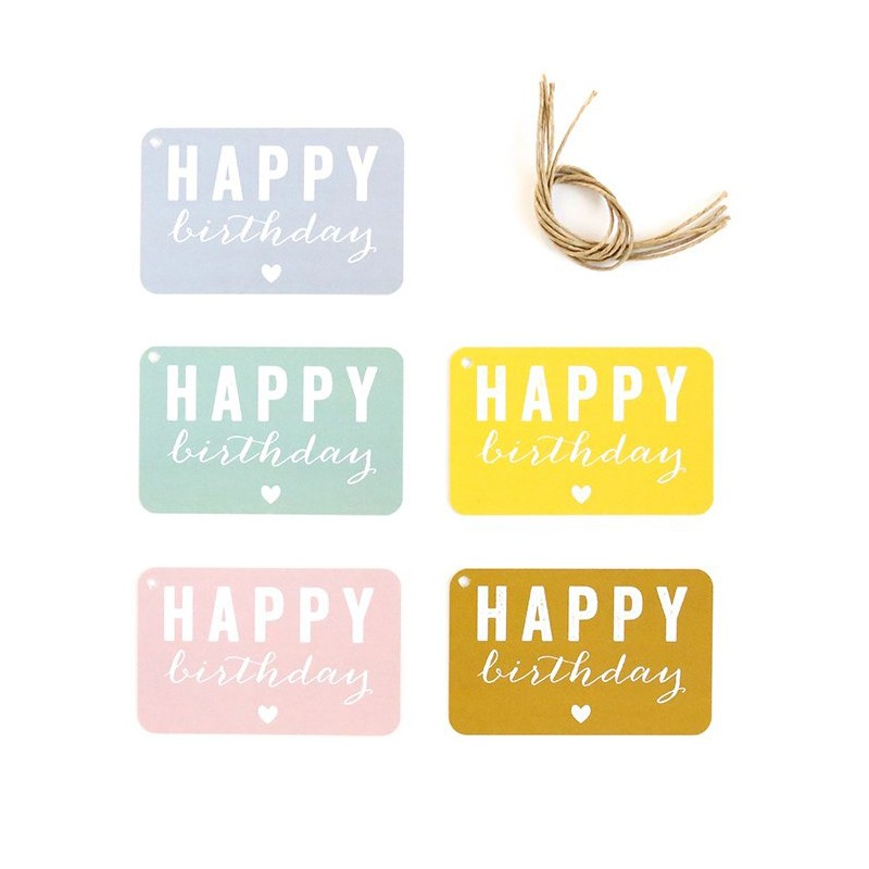 "Etiquettes cadeaux "" Happy Birthday "" Cinq Mai"