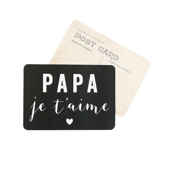 "Postcard ""PAPA JE T'AIME"" (DAD I LOVE YOU) Cinq Mai"