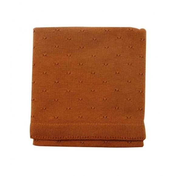 Wool Blanket Bibi cognac  Hvid